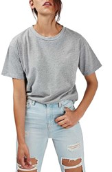 Topshop Women's Distressed Edge Tee Grey Marl