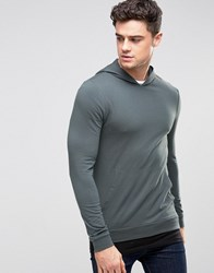 Asos Muscle Hoodie With Black T Shirt Hem Murky Blue