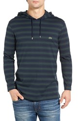 Lacoste Men's Stripe Long Sleeve Hooded T Shirt Kelp Navy Blue