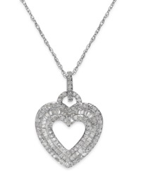 Macy's Diamond Layered Heart Pendant Necklace In Sterling Silver 1 2 Ct. T.W.