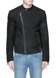 Scotch And Soda Quilted Shoulder Leather Biker Jacket Blue