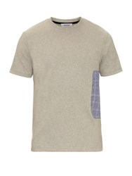 Tim Coppens Checked Patch Jersey T Shirt Grey Multi