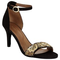 John Lewis Durban Embellished Stiletto Sandals Black Gold