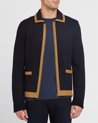 A.P.C. Navy Derrick Zipped Merino Cardigan Blue