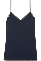 Prada Lace Trimmed Crepe Camisole Navy