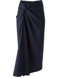 Lanvin Draped Pencil Skirt Blue