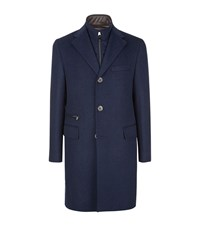 Corneliani Angora Tonal Check Overcoat Male Blue