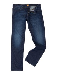 Hugo Boss Orange 58 Relaxed Fit Dark Rinse Jean Denim Mid Wash