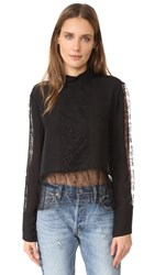 Jenni Kayne Lace Mock Neck Top Black