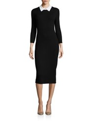 Trina Turk Bookish Collared Sweater Dress Black White