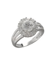 Lord And Taylor Sterling Silver Cubic Zirconia Flower Ring