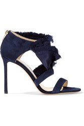 Jimmy Choo Kiki Ruffled Satin And Suede Sandals Midnight Blue