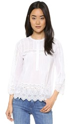 Rebecca Taylor Long Sleeve Voile Lace Top Sea Salt