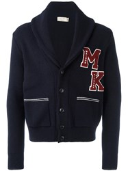 Maison Kitsune Logo Patch Cardigan Blue