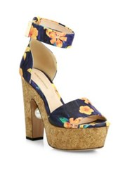 Nicholas Kirkwood Maya Pearly Heel Flower Print Leather Platform Sandals Sunflower