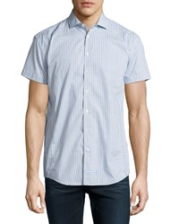 English Laundry Printed Short Sleeve Sport Shirt Blue White