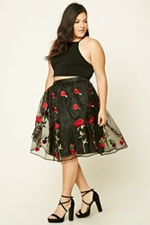 Forever 21 Plus Size Shirred Floral Skirt Black Red