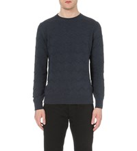 A.P.C. Zig Zag Patterned Knitted Jumper Marine Chine