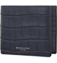 Michael Kors Bryant Crocodile Embossed Leather Wallet Navy