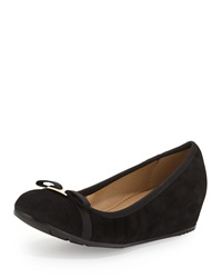 Neiman Marcus Adelia Suede Hidden Wedge Pump Black Blac