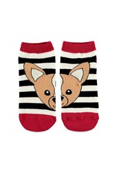 Forever 21 Striped Chihuahua Ankle Socks Cream Black