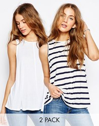 Asos Swing Vest In Stripe 2 Pack Save 10 Black Cream Cream