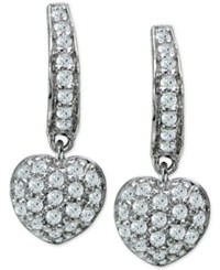 Giani Bernini Cubic Zirconia Pave Heart Drop Earrings In Sterling Silver Only At Macy's