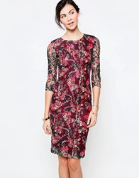 Jasmine Midi Dress In Floral Lace Red