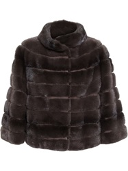 Yves Salomon Cropped Mink And Goat Fur Coat Brown