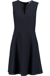 Tory Burch Eyelet Trimmed Stretch Faille Mini Dress Blue