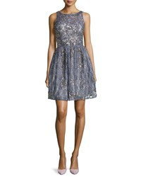 Aidan By Aidan Mattox Lace Beaded Party Dress Prussian