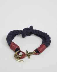 Icon Brand Anchor Woven Bracelet In Navy Navy