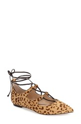 Vince Camuto Women's 'Emmari' Ghillie Flat Tan Black Calf Hair
