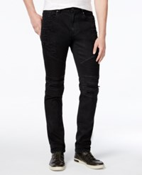 Reason Men's Slim Fit Leroy Waxed Denim Black Moto Jeans