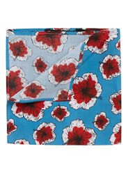 Topman Blue And Red Floral Print Cotton Pocket Square