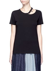 Stella Mccartney 'Falabella' Chain Cutout Shoulder Classic T Shirt Black