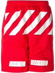 Off White Striped Track Shorts Red
