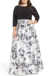 Adrianna Papell Plus Size Women's Jersey And Mikado Ballgown