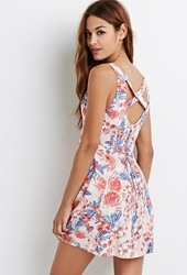 Forever 21 Tropical Floral Print Dress Blush Coral