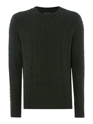 Howick Men's Andover Cable Crew Neck Jumper Olive