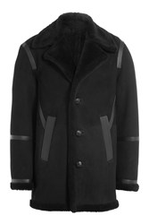 Neil Barrett Sheepskin Coat With Leather Black