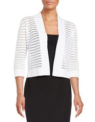 Nipon Boutique Striped Knit Cardigan New White