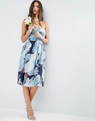 Asos Wedding Chiffon Bandeau Blue Floral Printed Midi Dress Multi
