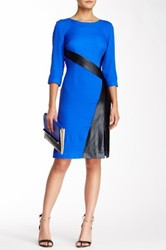 Mikael Aghal Mixed Media Silk And Faux Leather Colorblock Shift Dress Blue