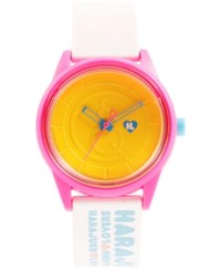 Harajuku Lovers Unisex Emoji Designed By Gwen Stefani White Printed Strap Watch 40Mm Hl2324
