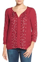Lucky Brand Women's Embroidered Peasant Blouse Beet Red