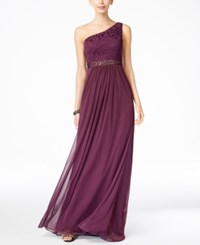 Adrianna Papell Embellished Lace One Shoulder Gown Currant