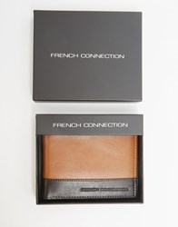 French Connection Leather Wallet In Two Tone Tan