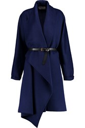 Vionnet Belted Wool And Angora Blend Coat Blue