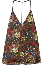 Alice Olivia Guenda Leather Trimmed Floral Print Silk Top Red